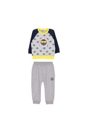 Fenerbahçe Bebek Gri Logo Baskılı Lastik Paçalı Lisanslı Takımı