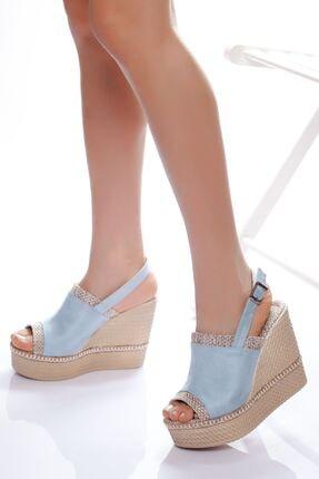 derithy Kadın Mavi Süet Dolgu Topuklu Ayakkabı