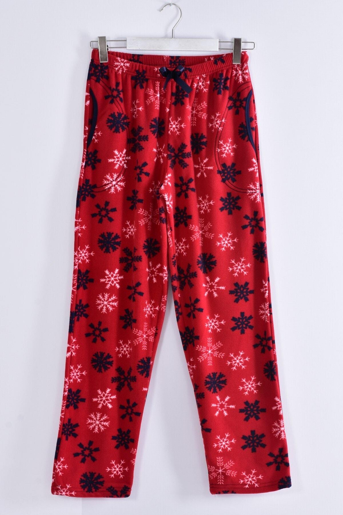 Pemilo Kadın Bordo Büyük Beden Cepli Welsoft Polar Pijama Tek Alt 245-03 1