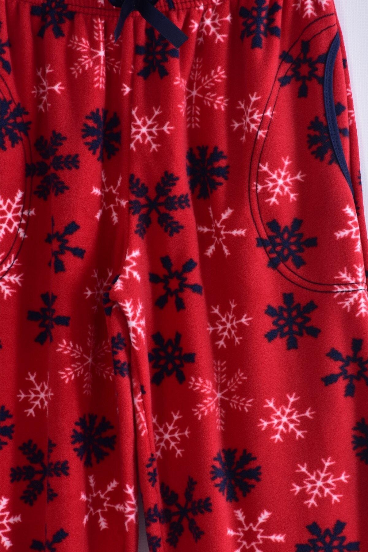 Pemilo Kadın Bordo Büyük Beden Cepli Welsoft Polar Pijama Tek Alt 245-03 2