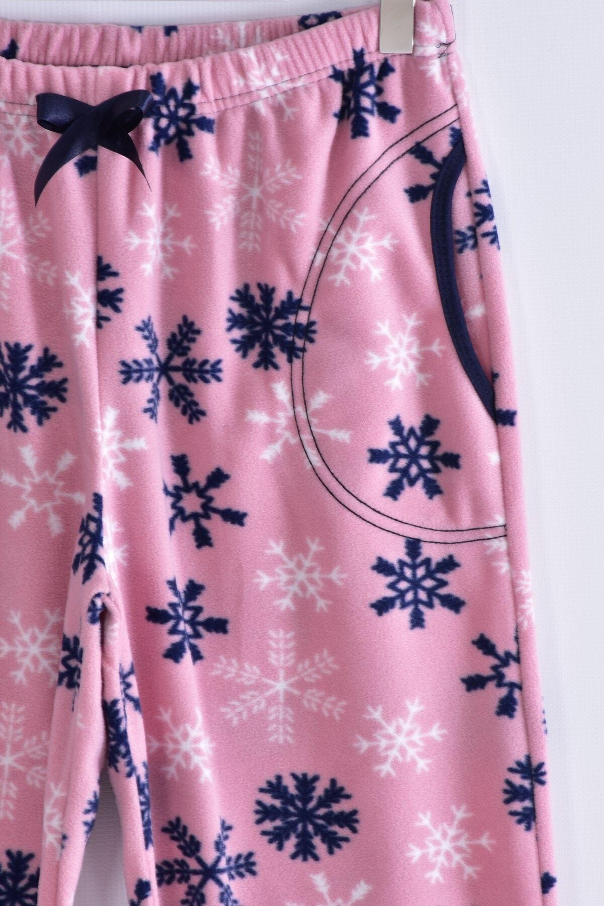 Pemilo Kadın Pudra Büyük Beden Cepli Welsoft Polar Tek Pijama Alt 245-03 2