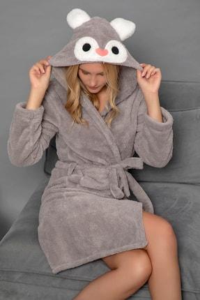 ELİTOL Kadın Gri Welsoft Nakışlı Uzun Sabahlık