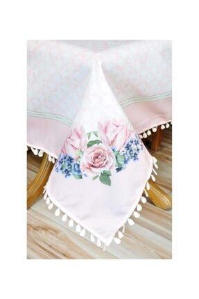 Sude Leke Tutmaz Çiçek Desenli Masa Örtüsü Pembe Renk 140*140 Cm