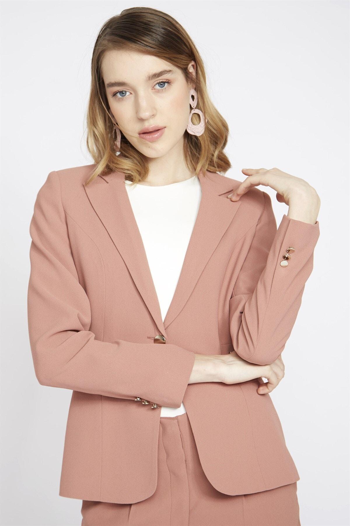 Chima Kadın Pembe Kuşgözü Detaylı Ceket 2