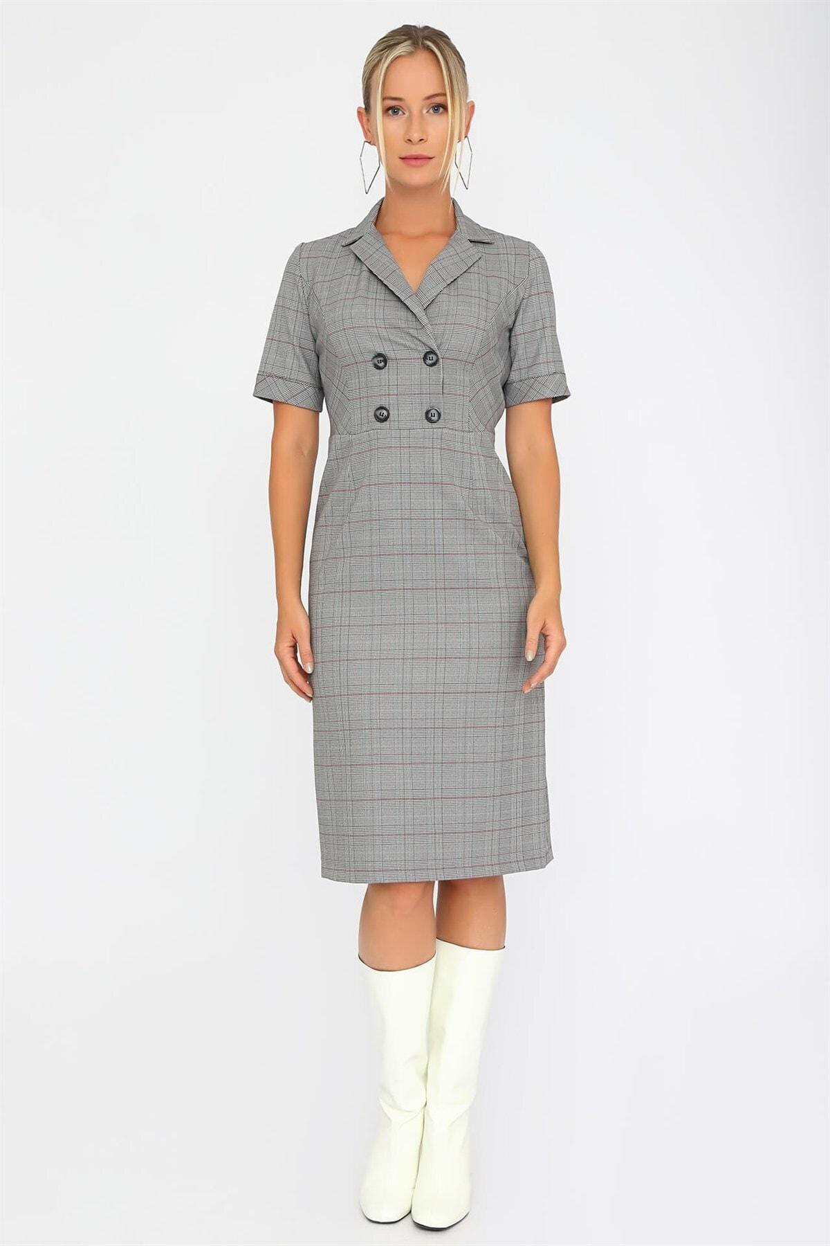 Chima Ekose Kruvaze Elbise 2