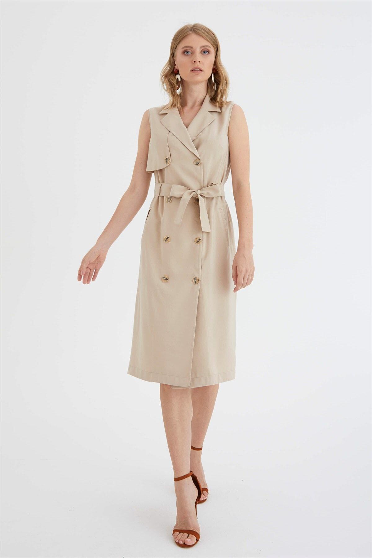 Chima Kruvaze Düğmeli Elbise 1