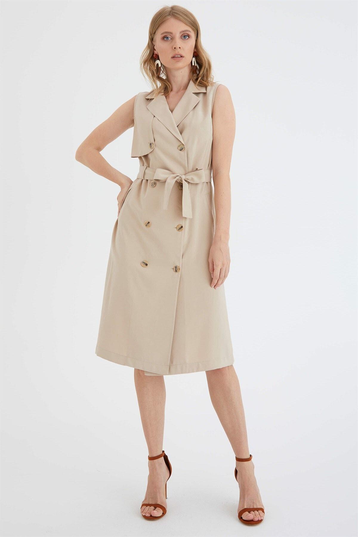 Chima Kruvaze Düğmeli Elbise 2