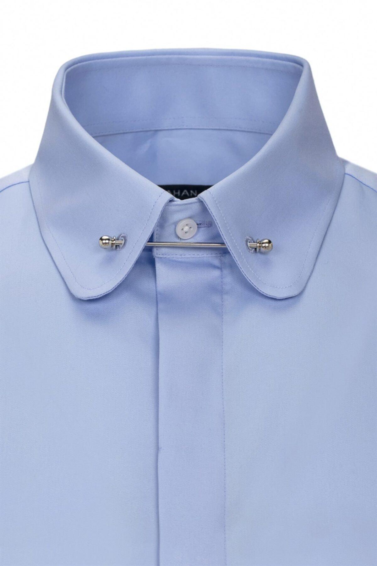 Paşahan Erkek Mavi Slim Fit Bebe Yaka İğneli Gömlek 2