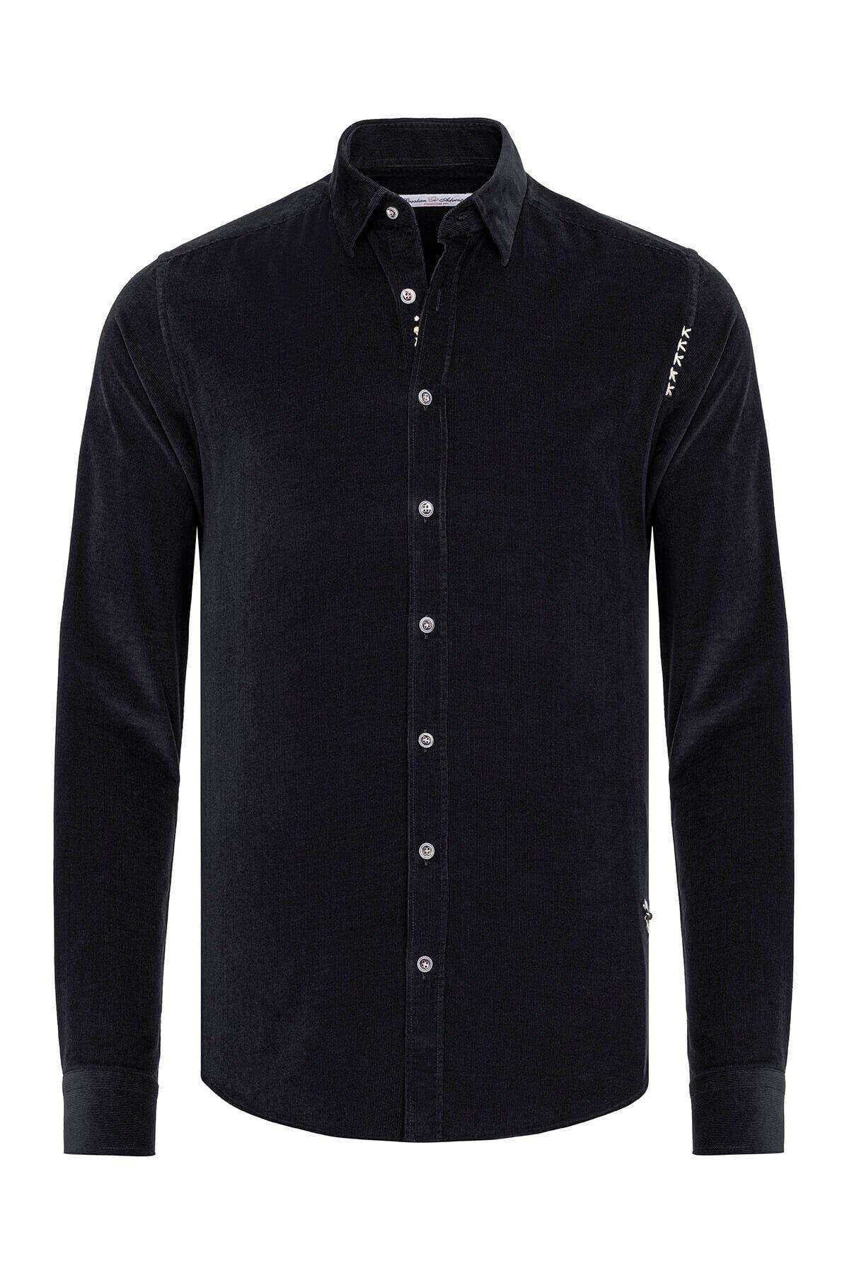Paşahan Erkek Siyah Kadife Slim Fit Gömlek 1