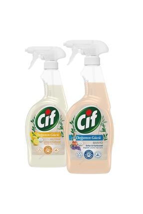 Cif Doğanın Gücü Sprey Mutfak Limon & Karbonat 750 ml + Banyo Sirke & Karbonat 750 ml