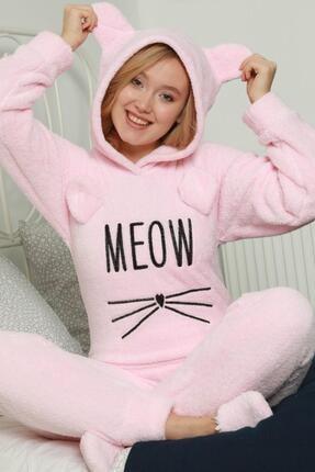 Pijamaevi Kadın Toz Pembe Meow Desenli Tam Peluş Pijama Takımı