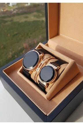 Ricardo Unisex Siyah Pembe Altın Sevgili Çift Saatleri