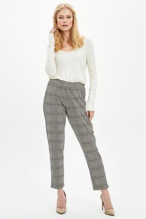 DeFacto Kadın Sarı Elastik Belli Ekose Desenli Pantolon