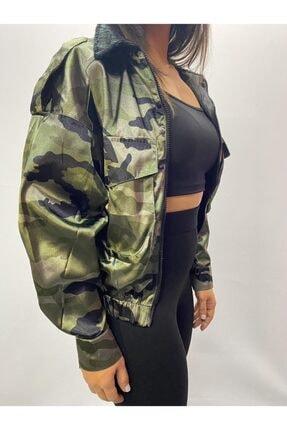 GO VİDA Kadın Siyah Kamuflaj Ceket