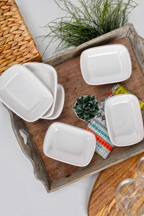 Keramika Mat Beyaz Dikdörten Çerezlik / Kayık 13 Cm 6 Adet