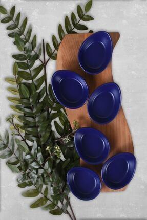 Keramika Mat Kobalt Mini Gondol Çerezlik / Sosluk 8 Cm 6 Adet