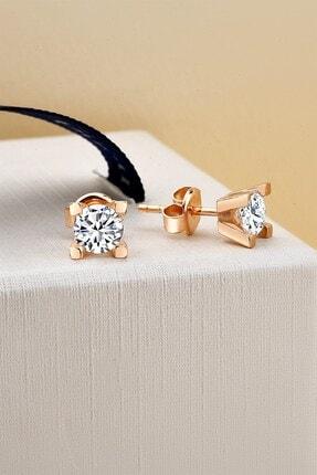 jelux silver Kadın Swarovski  Özel Tasarım V Tek Taş Pırlanta Montür Rose Gümüş Küpe