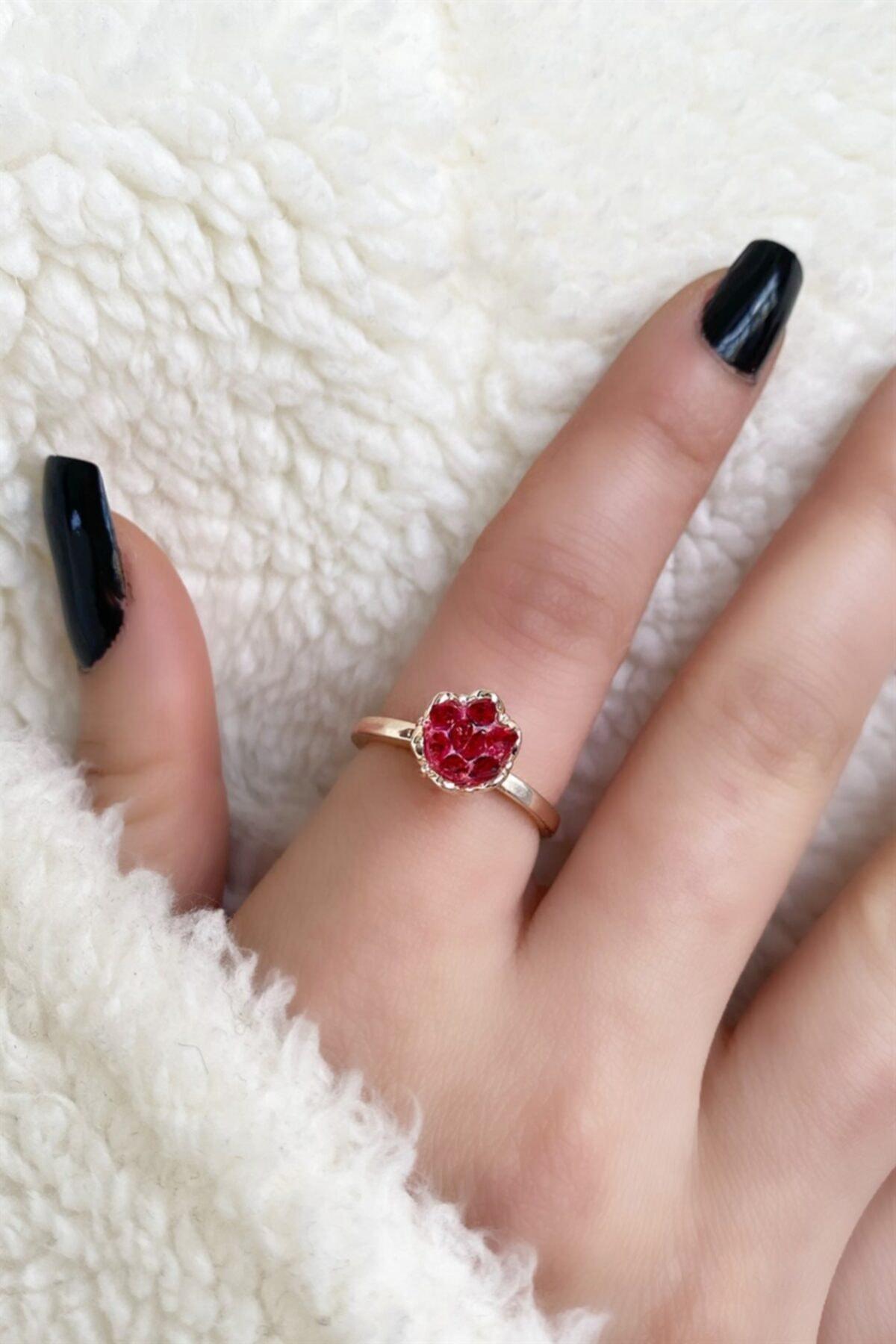 TAKIŞTIR Rose Renk Kırmızı Lotus Çiçeği Figürlü Ayarlanabilir Yüzük 2