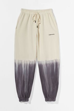 Bershka Kontrast Penye Batik Desenli Jogging Fit Pantolon