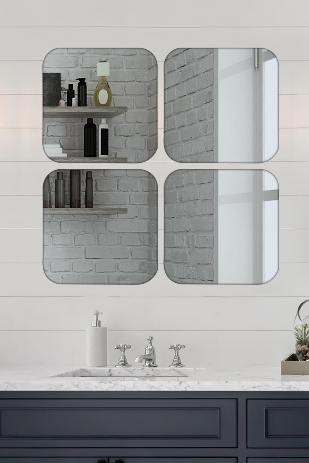 LYN HOME & DECOR 4 Lü Köşeleri Yuvarlak Kare Füme Ayna 36x36 Cm 1