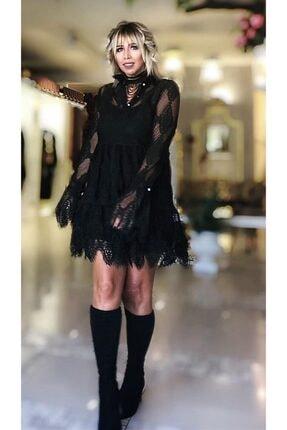 SERPİL Siyah Dantel Elbise