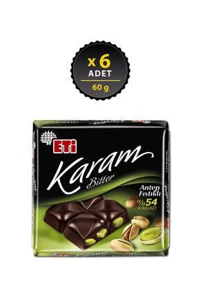 Eti Karam Antep Fıstıklı Kakaolu Bitter Çikolata 60 g x 6 Adet