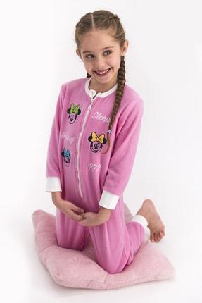 Minnie Mouse Mınnıe Mouse Kız Çocuk Pembe Polar Tulum