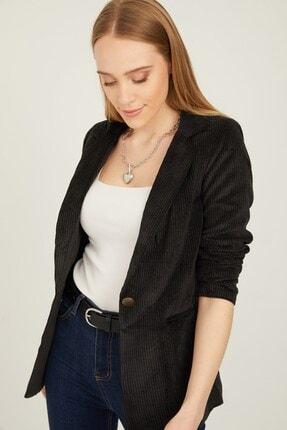 By Saygı Kadın Siyah Tek Düğmeli İçi Astarlı Fitilli Kadife Ceket