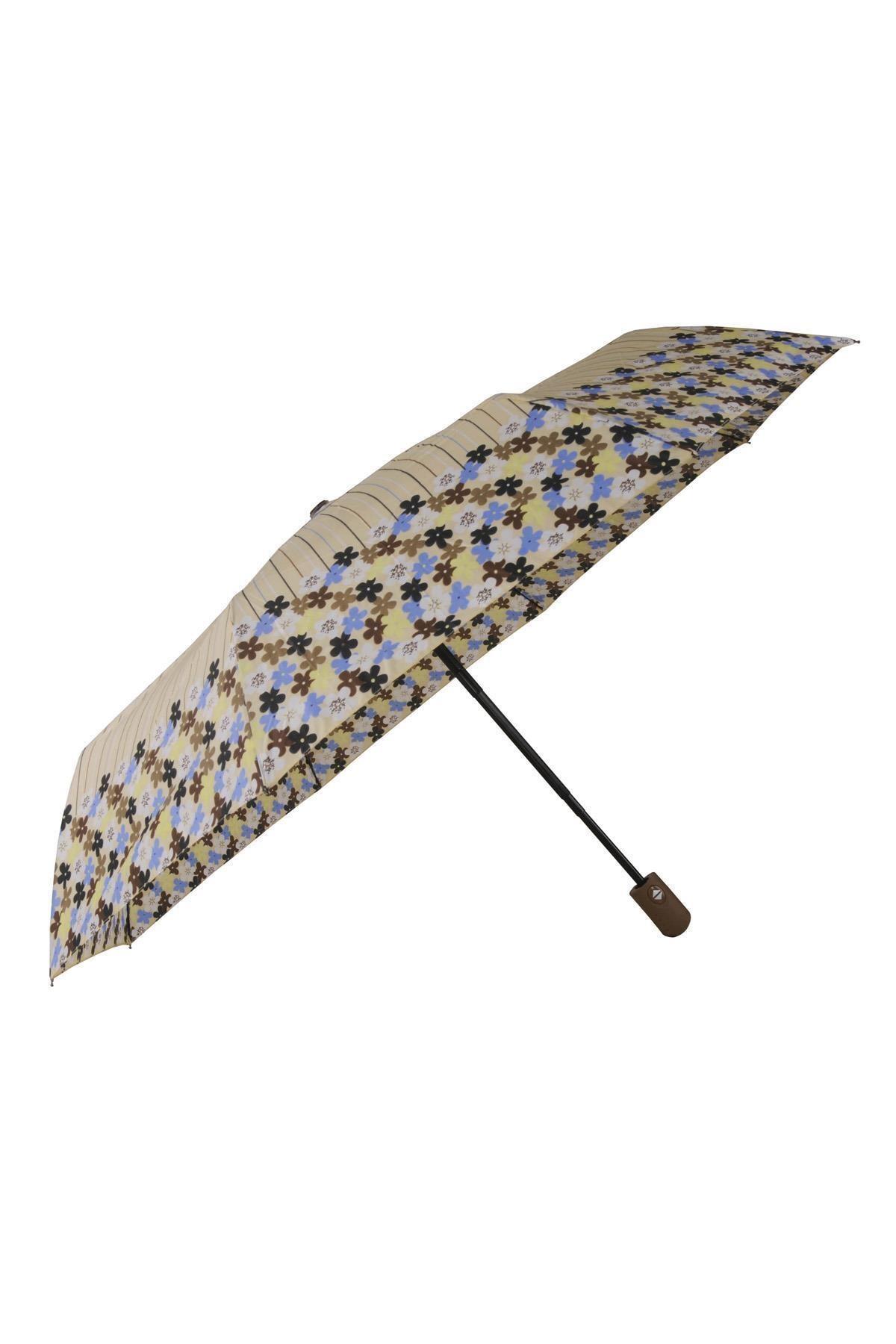 TREND Tam Otomatik Şemsiye Çiçek Desenli Sarı 6638 1
