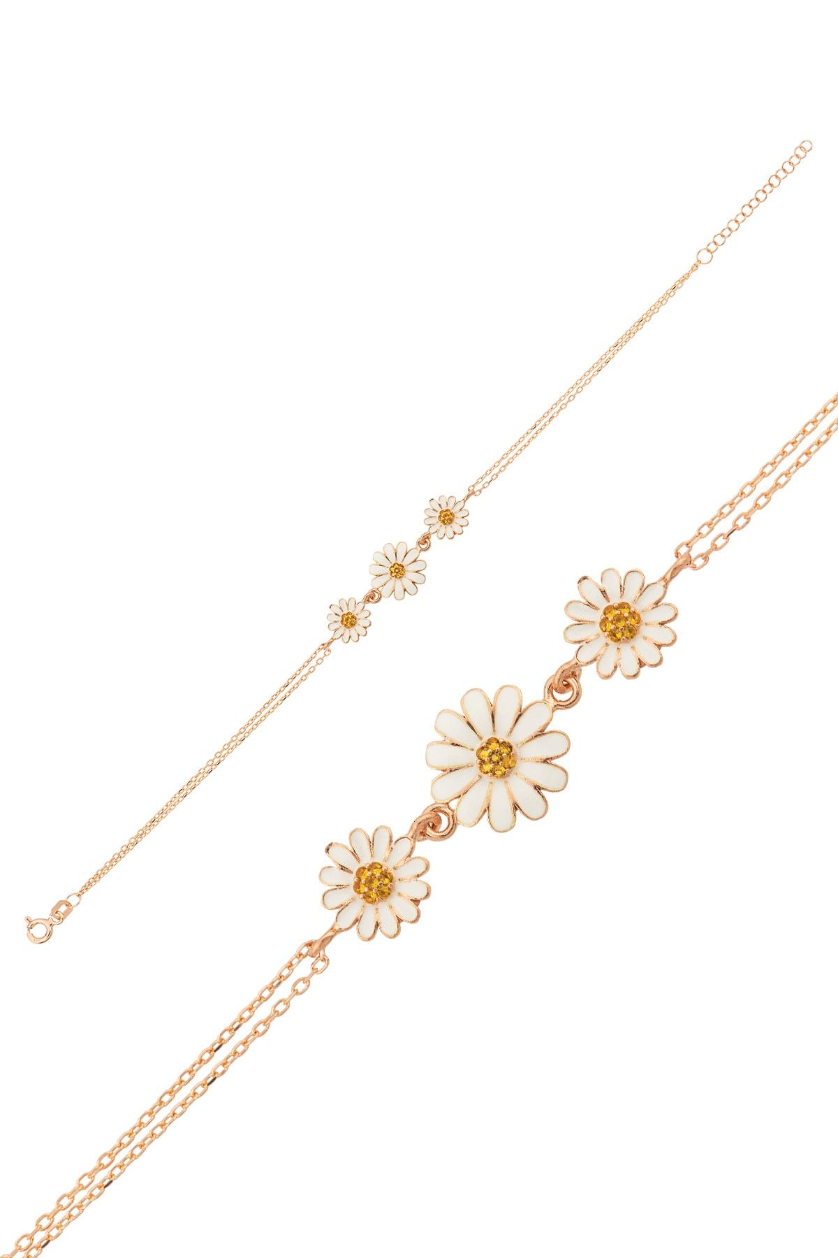 Papatya Silver Üç Papatya Süzme Bileklik - Sarı Nano Zirkon Taşlı Mineli Rose Altın Kaplama 925 Ayar Gümüş 2