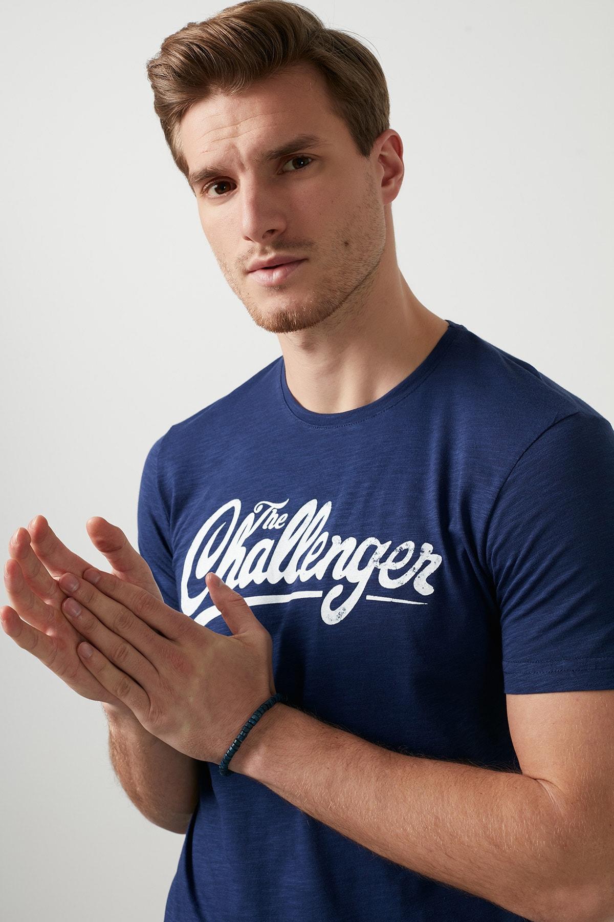 Buratti Erkek İNDİGO Ön Beden Baskılı Bisiklet Yaka Pamuklu T Shirt 5721007