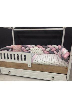 Mini Baby 4'lü Örgülü Pembe Montessori Bebek Çocuk Uyku Seti 90x190
