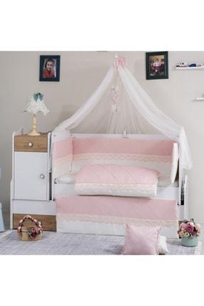 Mini Baby Nervür Pembe Bebek Uyku Seti 10 Parça Cibinlik Ve Aparatı 80x130