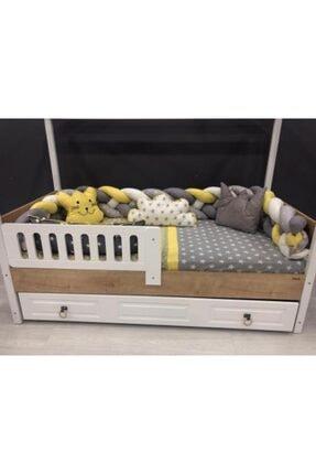 Mini Baby 4'lü Örgülü Sarı Montessori Bebek Çocuk Uyku Seti 100x200