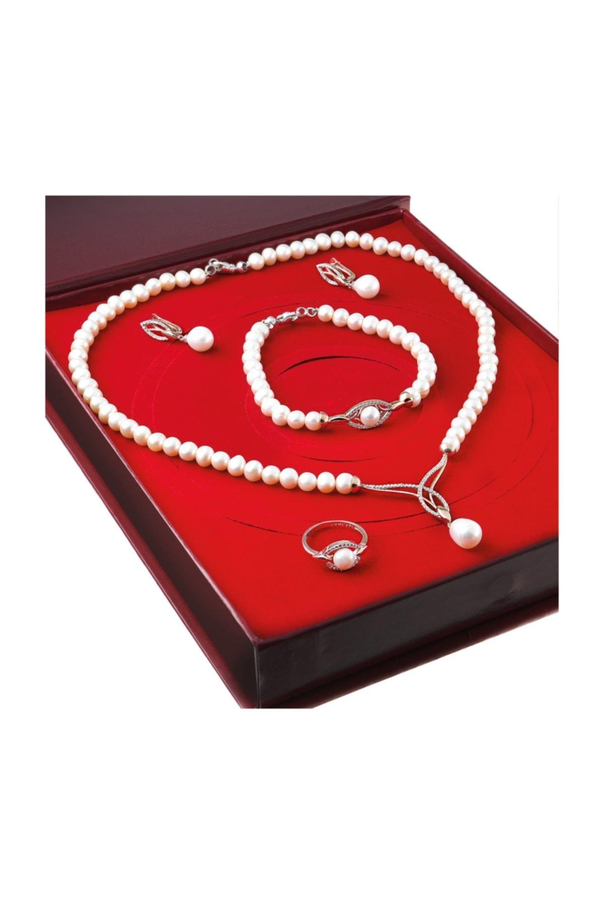 Chavin Inci Rose Gümüş Kolye Küpe Bileklik Yüzük Takım Set Ds45 1