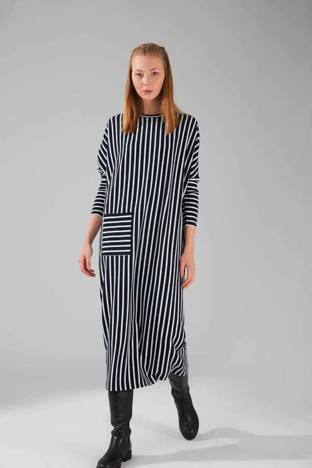 Mizalle Cep Detaylı Çizgili Elbise (lacivert) 1
