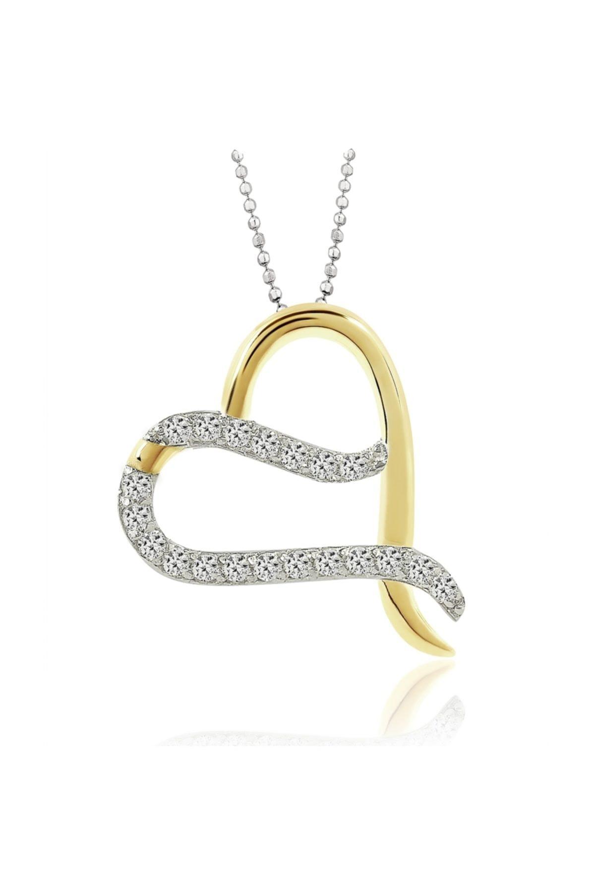 Chavin Altın Kaplama Zirkon Taşlı Gümüş Kalp Kolye cd96 1
