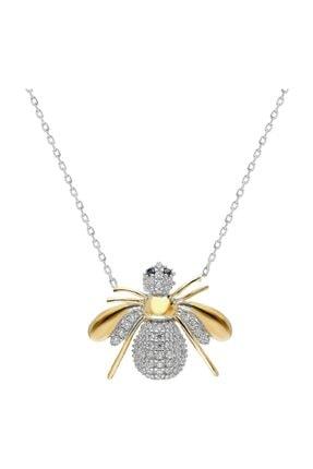 Chavin Gold Bal Arası Taşlı Gümüş  Kolye Dz56sr