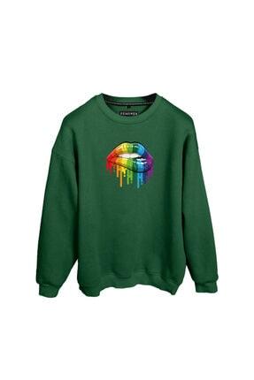 Fenomen Ürünler Gökkuşağı Dudak Baskılı Yeşil Oversize Unisex Sweatshirt