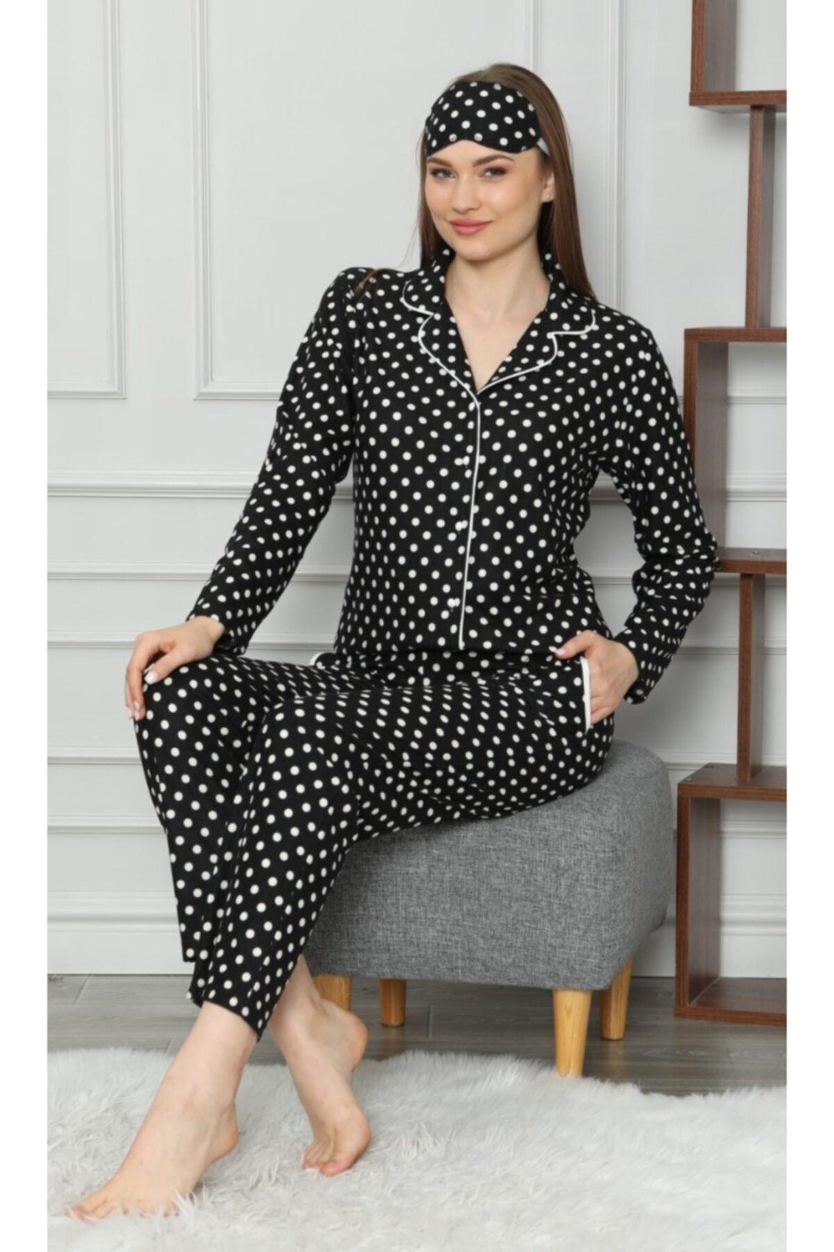 PIJAMAHOME Kadın Siyah  Önden Düğmeli Puanlı Kışlık Pijama Takımı 1