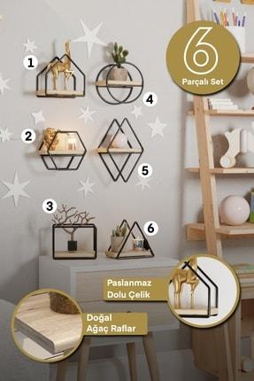 Bino Montessori Kitaplık Bebek Çocuk Odası Duvar Rafı Ahşap Minyatür Oyuncak Odası Raf 6'lı Set