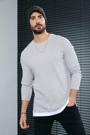 Sateen Men Erkek Gri Buruşuk Sweatshirt