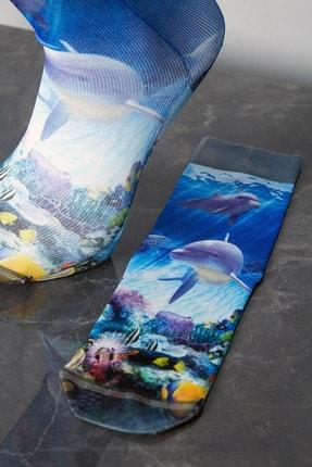 Sateen Men Erkek Sax Mavi Dijital Baskılı Çorap