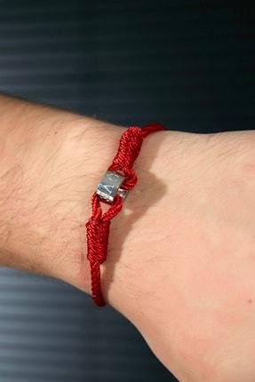 Sateen Men Erkek Kırmızı Çelik Uçlu Örgü Bileklik