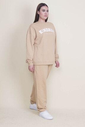 Şans Kadın Bej Pamuklu Kumaş Rahat Kesim Ön Baskılı Sweatshirt Pantolon Takım 65N21883
