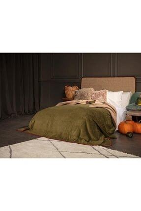 English Home Softy Düz Çift Kişilik Battaniye 200x220 Cm Yeşil-bej