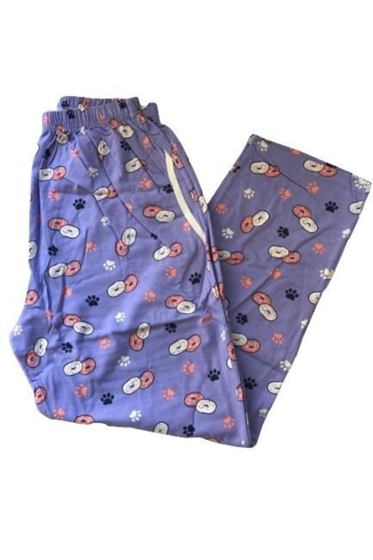 Pijamoni Kadın Mor Battal Pamuk Pijama Altı 1