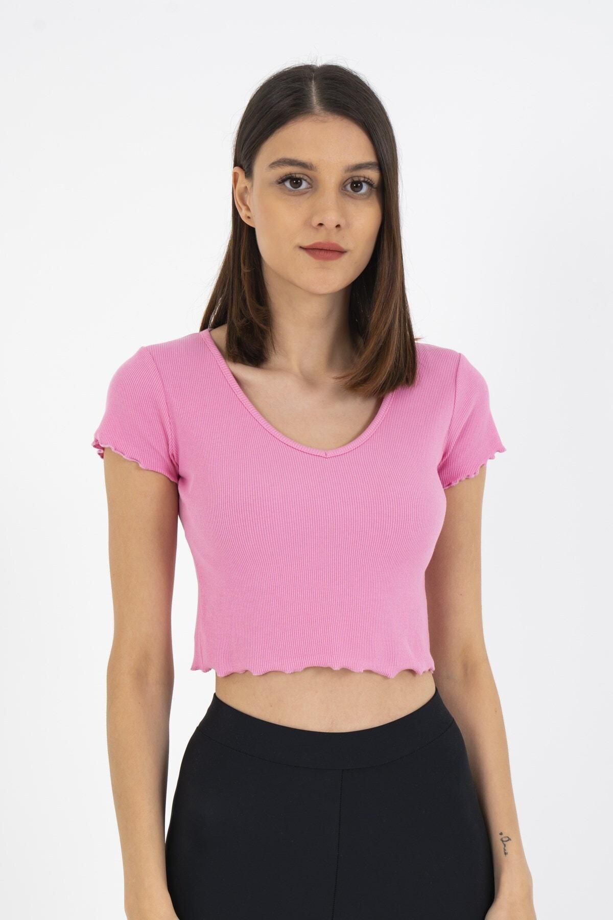 Loukai V Yaka Crop Basic Tişört 1