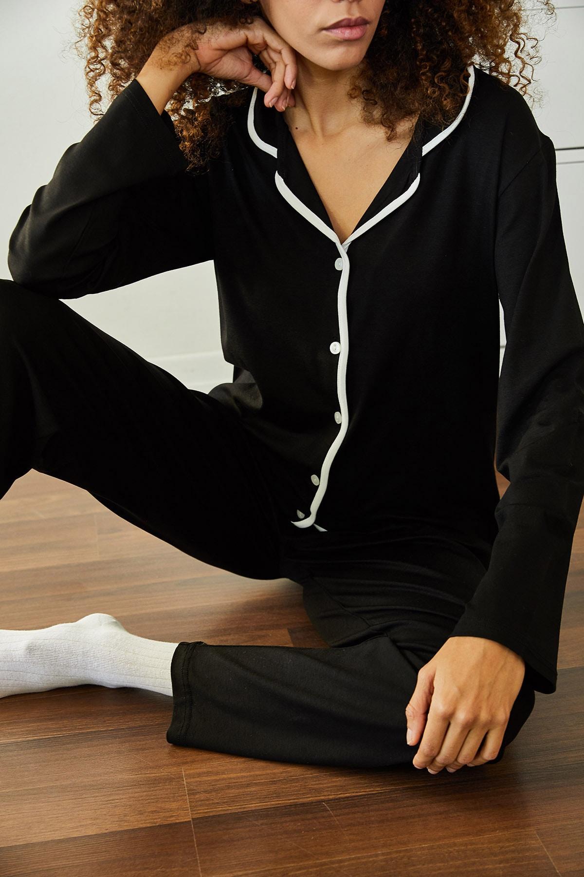 XENA Kadın Siyah Yumuşak Dokulu Esnek Örme Pijama Takımı 1KZK8-11024-02 1