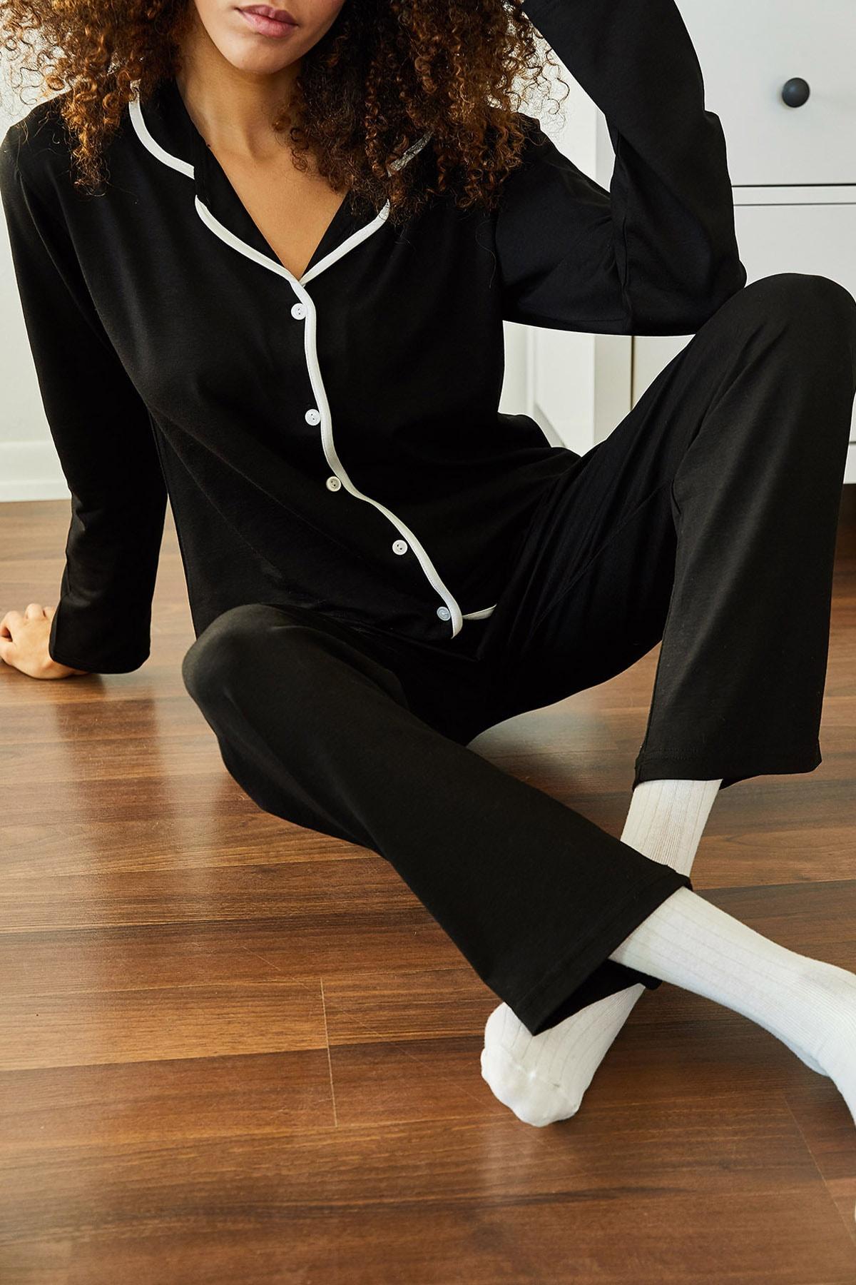 XENA Kadın Siyah Yumuşak Dokulu Esnek Örme Pijama Takımı 1KZK8-11024-02 2